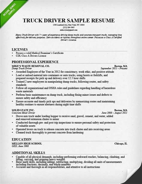 Driver Description Resume by Truck Driver Description For Resume Best Resume Exle