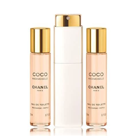 chanel eau de toilette mademoiselle chanel coco mademoiselle eau de toilette twist and spray 3 x 20ml feelunique