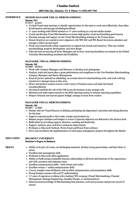 Visual Merchandising Resume by Manager Visual Merchandising Resume Sles Velvet