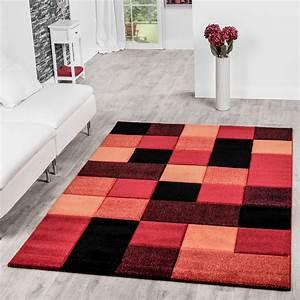 486004ee4d28da teppich wohnzimmer modern karo muster mit konturenschnitt in rot orange  schwarz moderne teppiche
