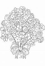 Coloring Bouquet Flowers Pages Printable Childrens Print Letters Tiki Duathlongijon Coloringtop sketch template