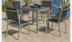 Table De Jardin 4 Personnes : salon de jardin carr pour 4 personnes en bois composite et aluminium ~ Teatrodelosmanantiales.com Idées de Décoration