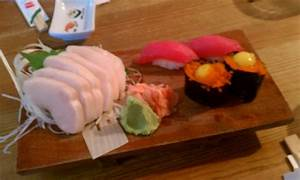 Escolar sashimi, maki and quail egg. - Yelp