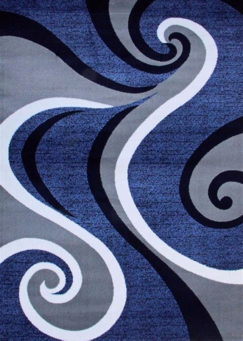 Abstract Black Rug by 0327 Blue Purple Gray Black Modern Area Rug
