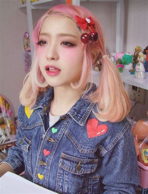 Kawaii Cute Girl Blush Dyed Hair Pink Blonde Fairy Kei