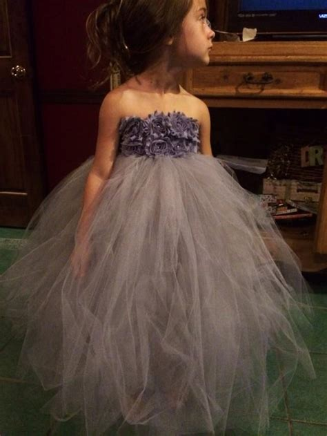 gray fairy tale tutu dress ivory tutu flower girl dress