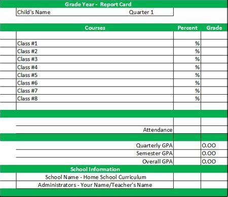 report card template homeschool middle school