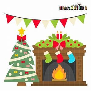 Christmas Fireplace Clip Art Set