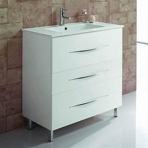 meuble salle de bain 80 cm 3 tiroirs vasque ceramique With meuble vasque 80 cm