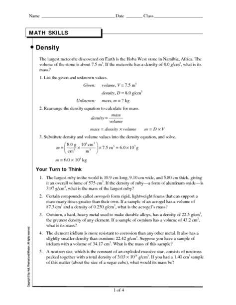 worksheet density worksheet physical science hunterhq
