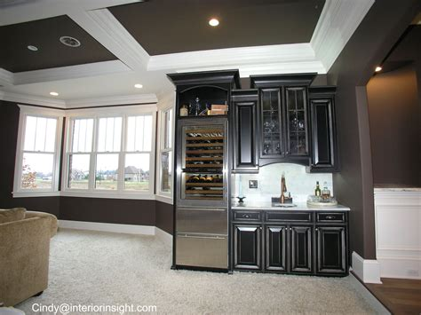 Basement Bar Fridge by Bar With Stainless Wine And Fridge Black Cabinets