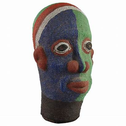 Clay Head Sculpture African Beaded Yellow