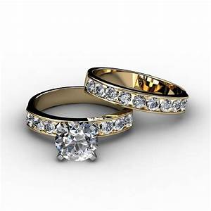 channel set diamond engagement ring matching wedding band With channel wedding rings