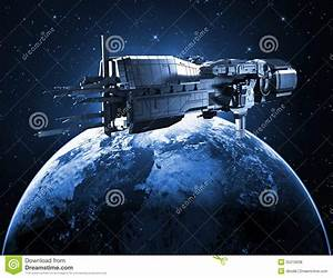 Spaceship With Planet Earth Royalty Free Stock Photos ...