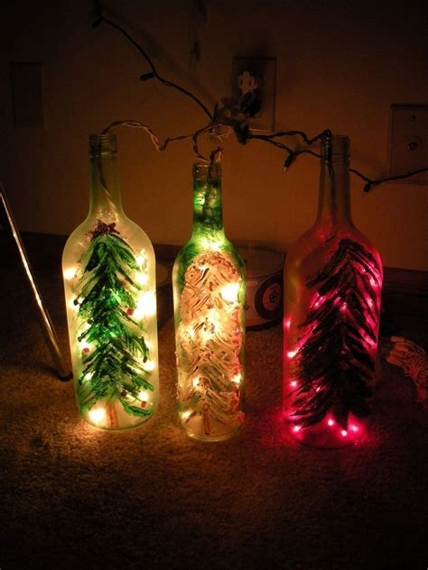 christmas wine bottle lights  bottle lamp glasswork
