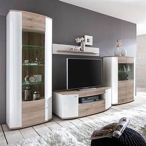 Fredriks Möbel Hersteller : wohnwand karlsburg 4 teilig hochglanz wei eiche ~ Watch28wear.com Haus und Dekorationen