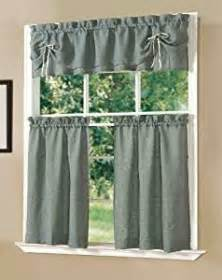 amazon com dainty home lucia kitchen curtain set blue