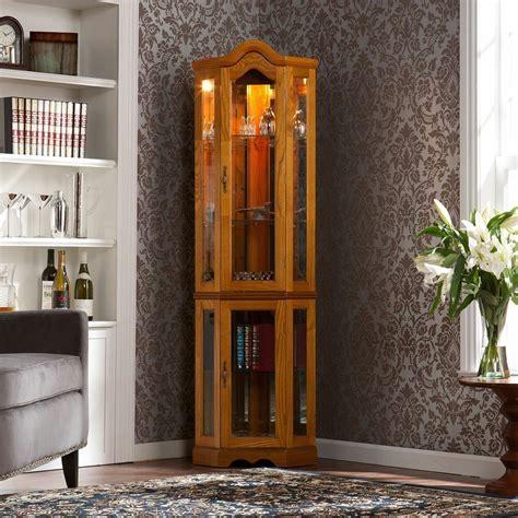 curio hutch lighted corner curio cabinet oak ebay