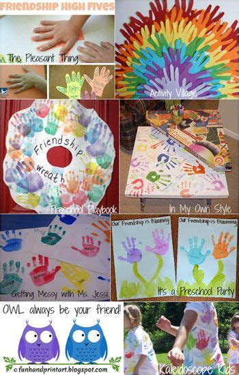 friendship crafts made with handprints preschool 309 | ddbd6c89bf848bd0671c59f3a01035eb