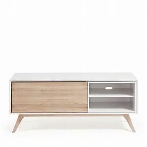 Meuble Tv Bois Design : meuble tv design blanc et bois de fr ne joshua by drawer ~ Preciouscoupons.com Idées de Décoration