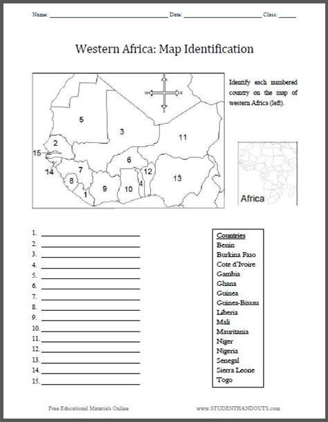 western africa map identification worksheet free to