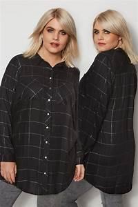 I Watch Kaufen : schwarz kariertes boyfriend hemd mit metallic effekt gro e gr en 44 64 ~ Eleganceandgraceweddings.com Haus und Dekorationen