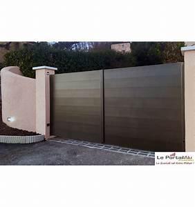 Portail En Aluminium : portail plein battant en aluminium 2 vantaux leportailalu ~ Melissatoandfro.com Idées de Décoration