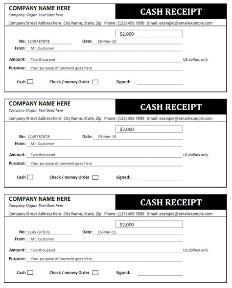 receipts for cash cash receipt template bills invoices and receipts