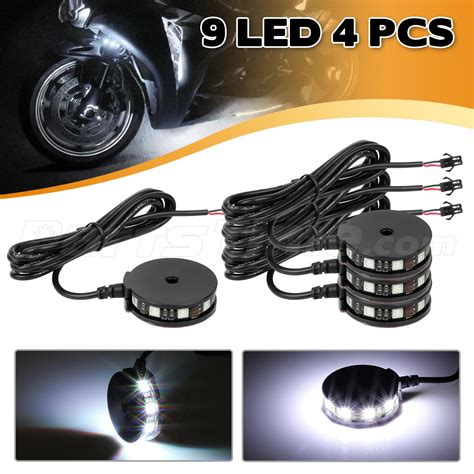 wheel light kits 4 white color led motorcycle axle wheel pod accent light