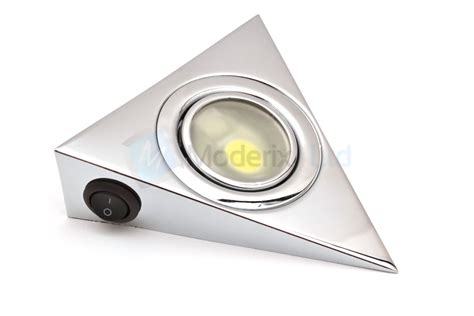 Cupboard Light Switch by Led Triangle With Switch Chrome Kitchen Cabinet