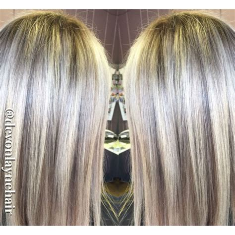 icy blonde highlights baby lowlights shadow root straight