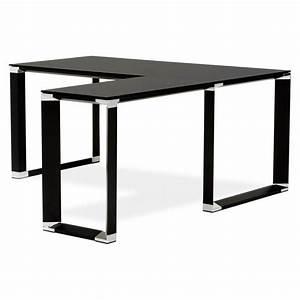 Bureau Angle Verre : bureau d 39 angle design master en verre tremp noir ~ Teatrodelosmanantiales.com Idées de Décoration