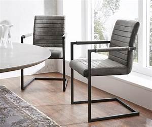 Esszimmerstuhl Grau Leder : esszimmerstuhl earnest grau vintage gestell metall schwarz ~ Watch28wear.com Haus und Dekorationen