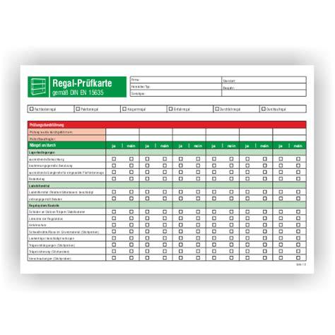 inspektion checkliste fuer regalpruefungen gemaess din en