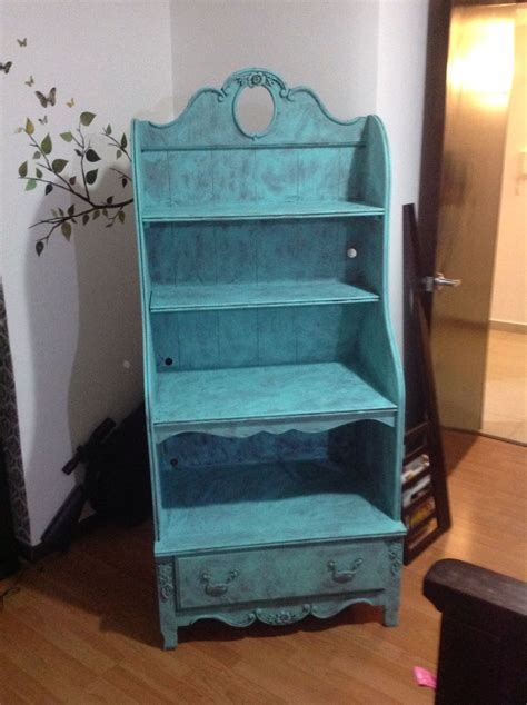librero vintage turquesa renovar  mueble viejo bb