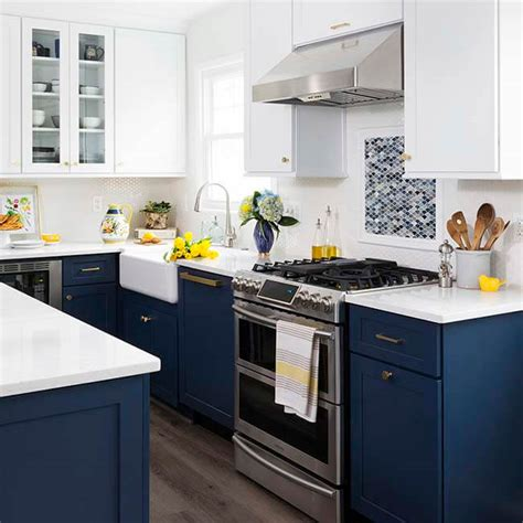 white and navy kitchen cabinets navy white kitchen design remodeling