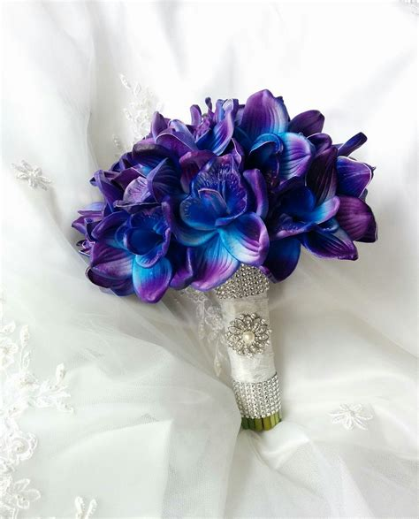 wedding natural touch blue purple dendrobium orchids wedding