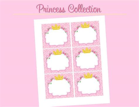 pink princess party labels bridal shower birthday