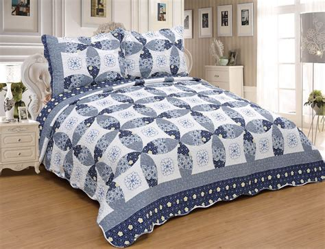 3pcs Navy Circle Floral Twin Queen King Bedspread Quilt