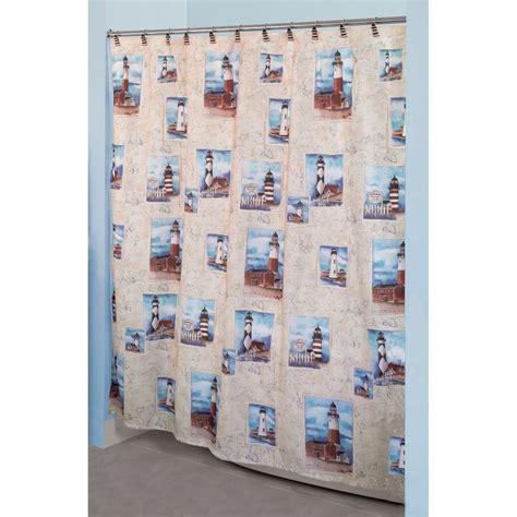 point bay postcard lighthouse fabric shower curtain