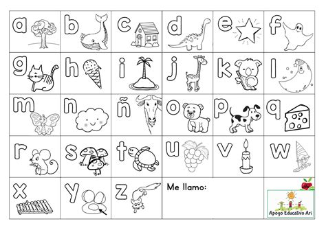 abecedario para colorear y poner en las mesas orientacion andujar