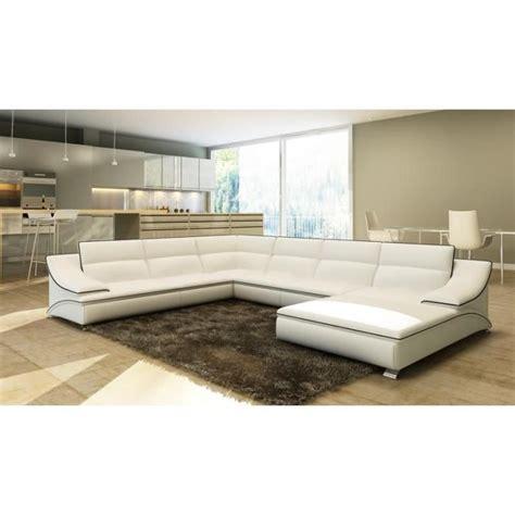 canapé confortable et design canapé d 39 angle en cuir blanc et noir design roxane achat