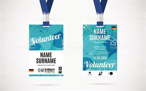 event volunteer id card set vector design illustration