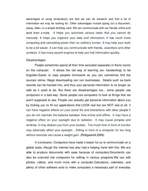 Advantage Of Computer Technology Essay by Is Technology A Or Bad Thing Essay The Way In Which