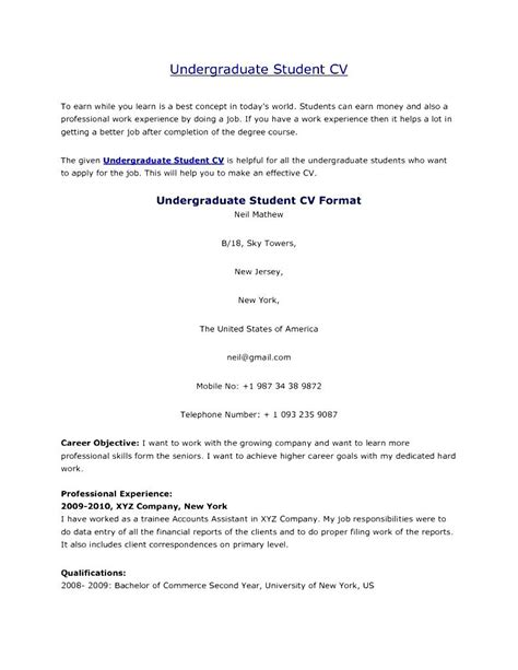 How To Make A Resume For Undergraduate Students by Undergraduate Student Cv Format Free Sles Exles Format Resume Curruculum Vitae