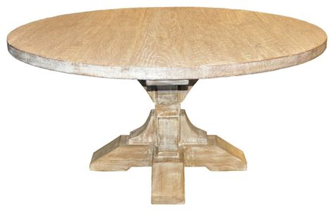 farmhouse style round dining table round pedestal dining table with a gray wash wax finish