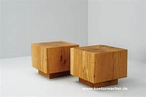 Beistelltisch Holz Massiv : holzklotz als beistelltisch energiemakeovernop ~ Indierocktalk.com Haus und Dekorationen