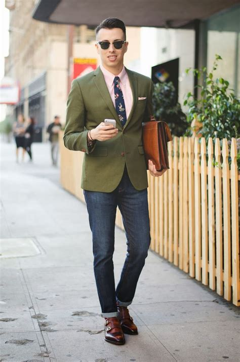 Menu0026#39;s Dark Green Blazer Pink Dress Shirt Navy Jeans Brown Leather Double Monks | Floral tie ...