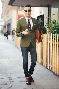 Menu0026#39;s Dark Green Blazer Pink Dress Shirt Navy Jeans Brown Leather Double Monks   Floral tie ...