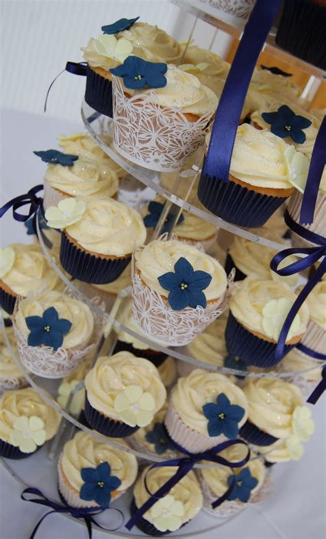 paper cakes navy yellow  white wedding cupcake